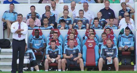 West Ham Bench, 18 August 2012