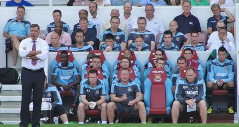 West Ham Bench, 18 August 2012