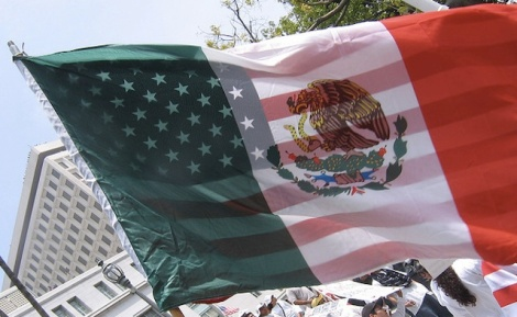 American and Mexican Flag by victoriabernal