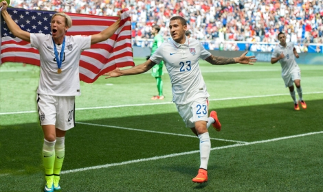 United States defender Fabian Johnson wheels away in celebration after scoring the team's opener in their World Cup send-off series game vs Turkey at Red Bull Arena in Harrison, New Jersey on June 1, 2014.