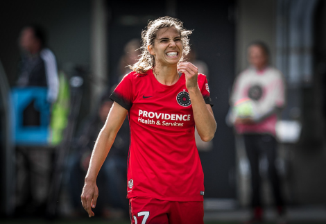 Tobin Heath, of the Portland Thorns, smiling infectiously.